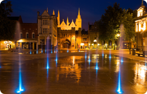 Newly revamped Cathedral Square by night. A great investment opportunity for restaurants