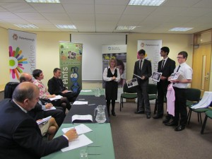 Students pitch to the panel of judges