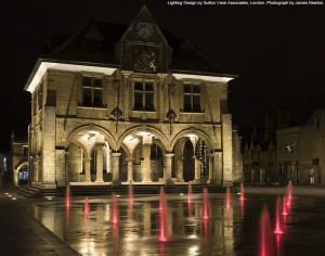 Peterborough Cathedral Square at night